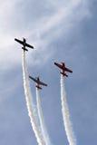 3 vliegtuigen in Vorming Stock Foto's