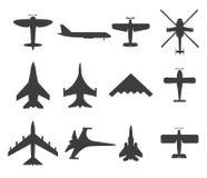 Vliegtuigenpictogrammen, die op witte achtergrond worden geplaatst Royalty-vrije Stock Fotografie