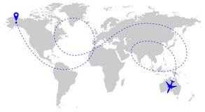 Vliegtuigenroute over wereld stock fotografie