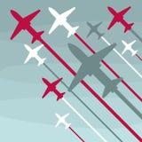 Vliegtuigenstart omhoog op een grijze achtergrond stock illustratie