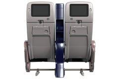 Vliegtuigenstoelen met het scherm, achtermening Stock Afbeelding