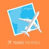 Vliegtuigillustratie in vlakke stijl reis concept Royalty-vrije Stock Foto
