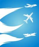 Vliegtuiginzameling en blauwe achtergrond. Vector vector illustratie