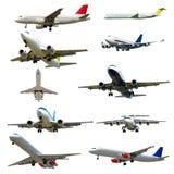 Vliegtuiginzameling op een witte achtergrond wordt geïsoleerd die. Hoge resolutie Royalty-vrije Stock Fotografie