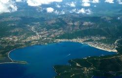 Vliegtuigmening, het eiland van Griekenland Royalty-vrije Stock Foto