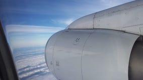 Vliegtuigmotor op hemel Royalty-vrije Stock Foto's