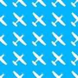 Vliegtuigpatroon Naadloze vliegtuigtextuur Vliegtuigen in de hemel Vector illustratie stock illustratie