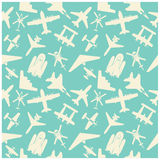 vliegtuigpictogrammen en achtergrond, patroon Stock Foto