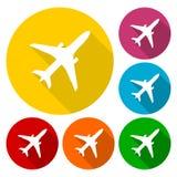 Vliegtuigpictogrammen met lange schaduw worden geplaatst die Royalty-vrije Stock Afbeelding