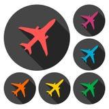 Vliegtuigpictogrammen met lange schaduw worden geplaatst die Stock Afbeelding