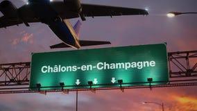 Vliegtuigstart chalons-Engels-Champagne tijdens een prachtige zonsopgang frans stock illustratie