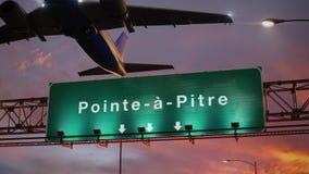 Vliegtuigstart Pointe een Pitre tijdens een prachtige zonsopgang frans royalty-vrije illustratie