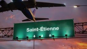 Vliegtuigstart Saint-Etienne het Frans tijdens een prachtige zonsopgang royalty-vrije illustratie
