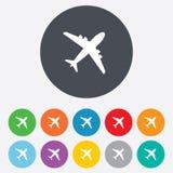 Vliegtuigteken. Vliegtuigsymbool. Reispictogram. Stock Fotografie
