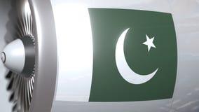 Vliegtuigturbine met vlag van Pakistan Pakistaanse vervoers conceptuele 3D animatie royalty-vrije illustratie