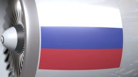 Vliegtuigturbine met vlag van Rusland Russische vervoers conceptuele 3D animatie vector illustratie