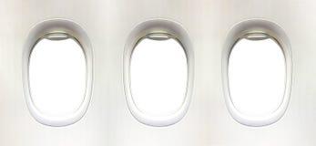 Vliegtuigvenster en ruimte voor uw ontwerp, 3 vliegtuigvenster, clipp royalty-vrije stock fotografie