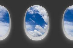 Vliegtuigvensters stock fotografie