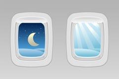 Vliegtuigvensters dag en nacht Stock Foto's