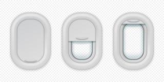 Vliegtuigvensters De realistische vliegtuigenpatrijspoort in verschillende posities, opent gesloten en half gesloten Ge?soleerde  vector illustratie