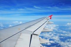 Vliegtuigvleugel, passagiersmening Stock Afbeeldingen