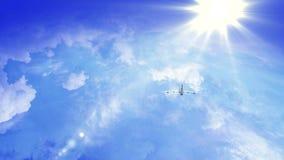 Vliegtuigvlieg door zonnige dag blauwe hemel lijnvideo, tijd-Tijdspanne stock videobeelden