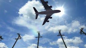Vliegtuigvlieg door zonnige dag blauwe hemel Vliegtuigen die overgaan door stock footage