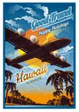Vliegtuigvlieg over het tropische eiland met palmen en bungalow, in zonsondergang, tegen de zon, mening van de bodem Vector uitst royalty-vrije illustratie