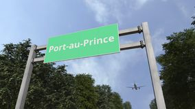 Vliegtuigvliegen boven verkeersteken van Port-au-Prince, Ha?ti het 3d teruggeven stock illustratie