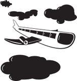 Vliegtuigwolken royalty-vrije stock afbeeldingen