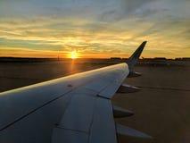 Vliegtuigzonsondergang Stock Afbeelding