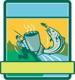 Vliegvisser Catching Salmon Mug Rectangle Retro stock illustratie