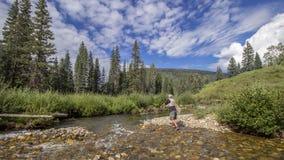 Vliegvisser op een Rotsachtige de bergforel s van glashelder Colorado stock foto