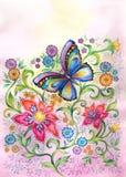 Vlinder in bloemen Royalty-vrije Stock Foto's