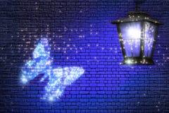Vlinder die aan het licht vliegen Feesamenvatting Stock Afbeelding