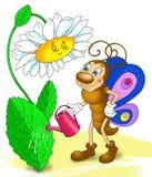 Vlinder die de bloem, beeldverhaalinsect water geven Royalty-vrije Stock Foto's