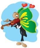 Vlinder die op de viool wordt gespeeld Stock Foto's