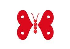 Vlinder die van rode en witte harten wordt gemaakt Stock Foto's