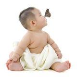 Vlinder en baby stock foto