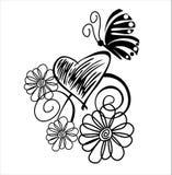Vlinder en Bloemen Stock Afbeeldingen
