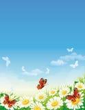 Vlinder en bloemen royalty-vrije illustratie