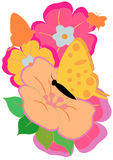 Vlinder en Bloemen Royalty-vrije Stock Fotografie