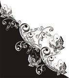 Vlinder en bloemenornament, vectorillustratie royalty-vrije illustratie