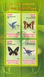 Vlinder en dinosaurus stock afbeeldingen