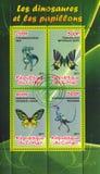 Vlinder en dinosaurus stock afbeelding