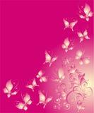 vlinder en florel ornament, vectorillustratie Stock Afbeelding