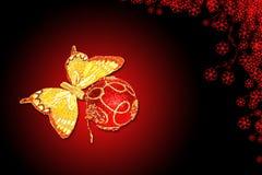 Vlinder en Kerstmisdecoratie Royalty-vrije Stock Afbeeldingen