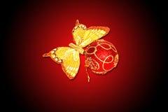 Vlinder en Kerstmisdecoratie Stock Afbeelding