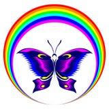 Vlinder en regenboog stock fotografie