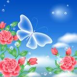 Vlinder en rozen Royalty-vrije Stock Afbeelding